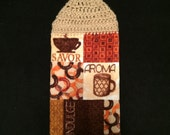 Crocheted Top Dish Towel -- Coffee Cup Patchwork