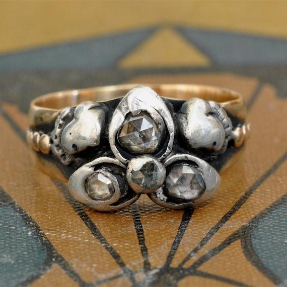 Georgian Diamond Ring-Antique Engagement Ring-Unique