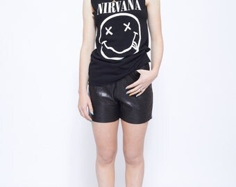 Vintage Genuine Leather Shorts in Black with High Waisted Design