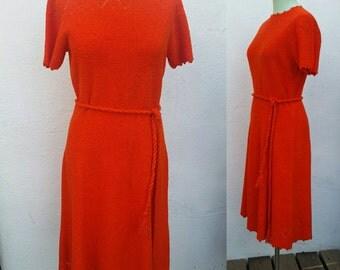 Vintage St. John Knits A-Line Dress Bright Orange Persimmon Boho Hippie 1970's