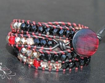 wrap bracelet, leather bracelet, leather wrap, beaded jewelry, handmade jewelry, leather cuff, beaded wrap bracelet, czech glass beads