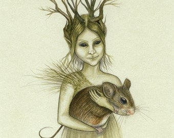 The Woodland Faerie--Original graphite & watercolour drawing