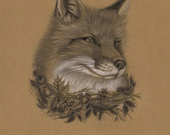The Fall Fox, Original drawing (Part of the Keepers of the Seasons series)
