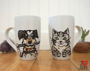 Pet Portraits on Mugs, Custom Mug, Hand drawn, Color Ink