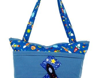 Diaper Bag, Outer Space Baby Shower, Blue, Rocket Baby, Spaceship, Outer Space Diaper Bag, Rocket Ship Nursery, Baby Bag, Boy Diaper Bag