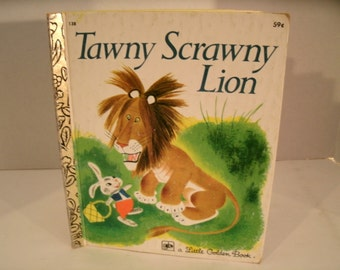 Tawny Scrawny Lion, Little Golden Book, Vintage 1970s Children's Book, 1978, Kathryn Jackson, Gustaf Tenggren