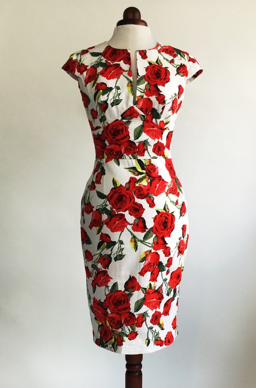 Red rose dress floral dress summer dress vintage style