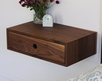 Floating Nightstand with Drawer / Mid Century Modern Bedside Table in Black Walnut
