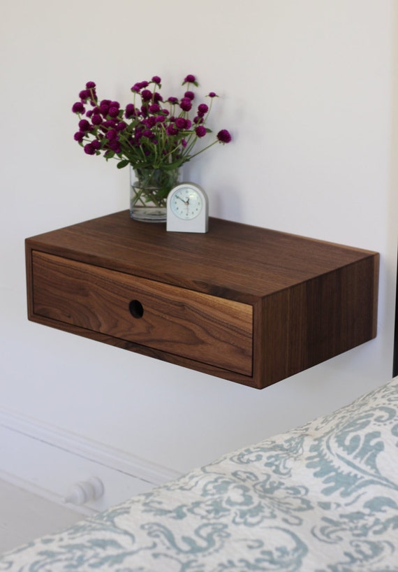 Floating Nightstand With Drawer Mid Century Modern Bedside