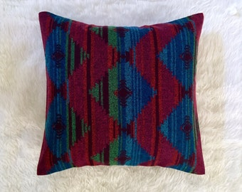 "Colorful Aztec Blanket Print Pillow Cover | Cushion Cover | Throw Pillow Cover | Decorative Pillow Cover | Envelope Closure | 18""x18"