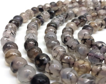 Dragon Vein Agate, Faceted Beads, 8mm Beads, Agate Beads, Gemstone Beads, Faceted Agate Beads, Faceted Gemstone, 8mm Gemstone Beads, Dragon