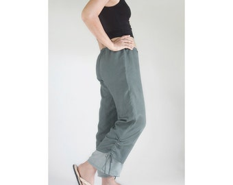 Casual Comfy Drawstring Cotton Pants in Gray