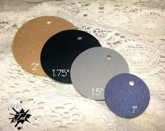 50 Round Die Cut Tags / Hanging Tags / Wedding Favor / Multiple Colors & Sizes