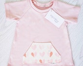 ON SALE***Soft Pink With Heart Pocket Baby Girl T-Shirt Dress