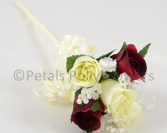 Artificial Wedding Flowers, Burgundy & Ivory Rose Flower Girl Wand