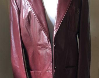 Vintage Burgundy Leather Jacket Etienne Aigner FALL Coat  - 1970s Red Leather Coat - Soft Leather Designer Jacket - Oxblood Jacket