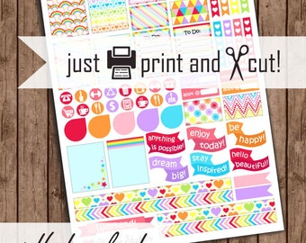 Rainbow Planner Stickers, Fun / Cute Printable Stickers, Planner Accessories