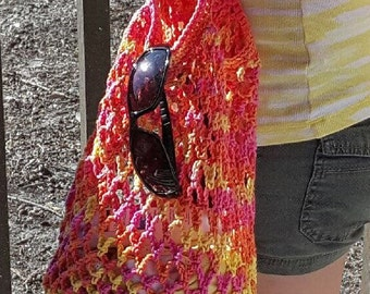 Sunshine Beach Bag | Bright Multicolor Beach Bag | Bright Crochet Bag | Market Bag | Crochet Tote Bag