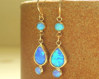 Opal Earrings - 14K Gold Opal Drop Earrings - Blue Opal earrings - Gold Drop Earrings - Opal Dangle Earrings - 14k Opal Gold Earrings - Gift