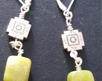 Green Olive New Jade Earrings