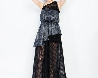 Sale/ Asymmetrical Triple Layer SHOULDER DRESS