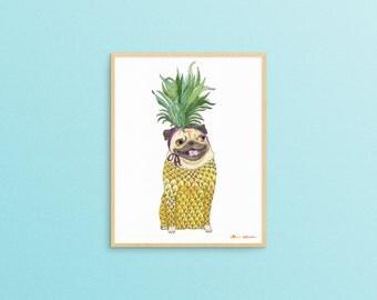 Pineapple Pug Art Print, Dog Artwork, Funny Animal Art Prints, Pug Lover, Girlfriend Gift, Pug Decor, Pineapple Decor, Quirky Home Decor