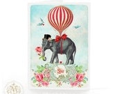 Elephant, Valentine card, love card, birthday card, red roses, hot air balloon, red hearts, top hat, anniversary card, wedding card
