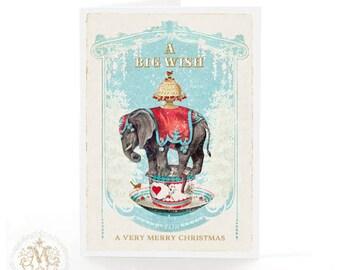 Elephant, Christmas card, vintage style, snow, Christmas tree, robin, a big wish, christmas cake, red berries, holiday card