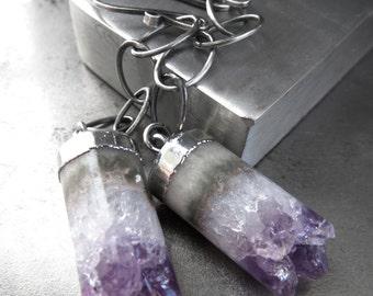 Amethyst Gemstone Earrings, Cylinder Cut Amethyst Stone Earrings, Oxidized Sterling Silver Chain, February Birthstone February Birthday Gift