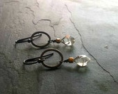 HERKIMER DIAMOND Earrings, Oxidized Silver Jewelry, Black Hoop Double Terminated Quartz Earrings, Handmade Modern Jewelry, Edgy Rocker