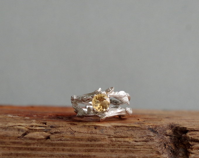Citrine Ring Elvish Twig Ring  Branch Ring Thorn Jewelry November Birthstone Gifts for her Fine Jewelry