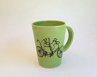 Handmade Porcelain Mug, Made to Order, Cat Riding a Bike Mug, Crazy Cat Lady Mug, Cat Lover Mug, Cat Illustration, Cat Coffee Mug