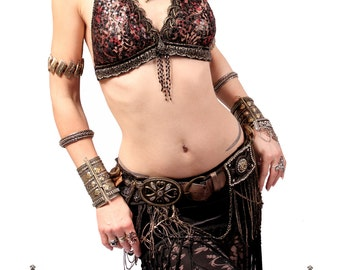 Halter, DD Cup, (model was wearng an A Cup) Bellydance, Red, Gold,  Black Sequins, Dark Fusion, Tribal, Fusion, Bra, Gothic, Hoop