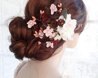 bridal flower hair clip, bridal hair flower, bridal hair accessories, burgundy hair flower, ivory hair clip, pink, rustic floral headpiece