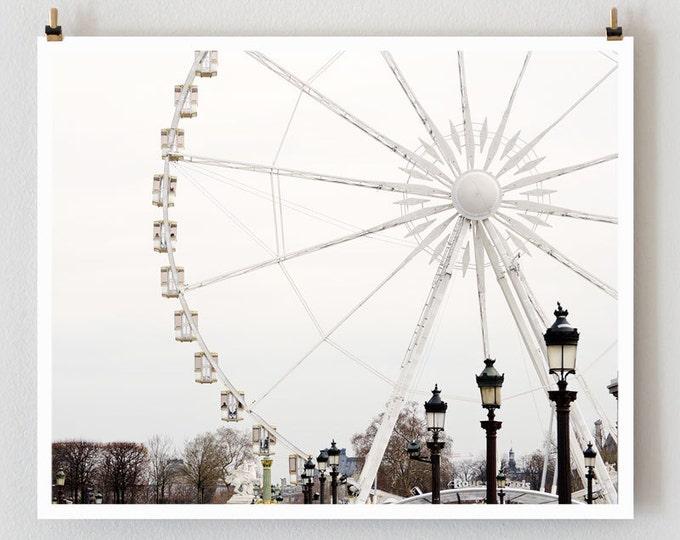Paris Photography, Ferris Wheel by Nichole Robertson, Minimalist Wall Art Print, Extra Large Art, Modern Urban Wall Decor, Wife Gift