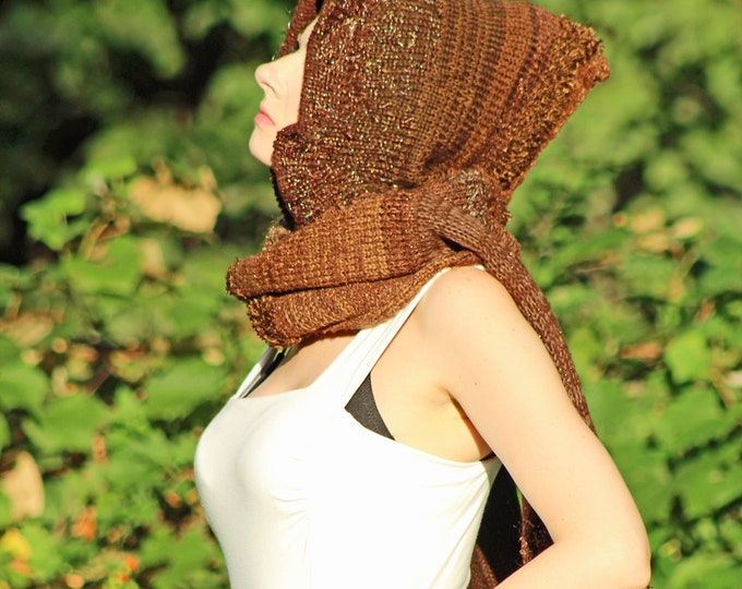 Earthy Brown Hooded Scarf  Long Unique Handmade Hat Skood Gift for Him, Gifts for Her