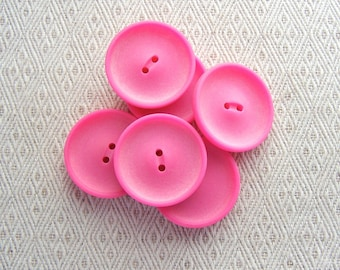 Neon Pink Buttons, 29mm 1-1/8 inch - Fuchsia Pink Plastic Sew Through Coat Buttons - 6 VTG NOS Satin Matte Bright Pink Sewing Buttons PL114