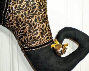 Curly Toed Christmas Stocking in Black and Gold