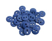 Set of 30 Smooth Round Plastic 2-Holed Buttons - The Simplest Matte Royal Blue (10mm)