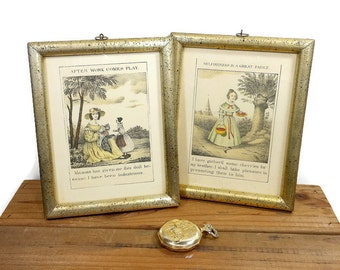 Vintage Print Book Pages Framed Picture Set Color Sepia Tone Wall Art Old Fashioned Girls Sayings Values Victorian Style PeachyChicBoutique