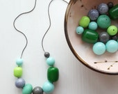 terrarium necklace - vintage remixed lucite - green and grey necklace - mossy woodland jewelry - mori girl necklace