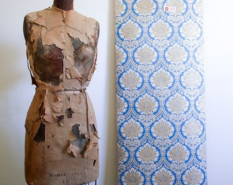 1970s Wallpaper Roll / Sunworthy Double Roll / NOS Unused / Blue and Gold Pattern