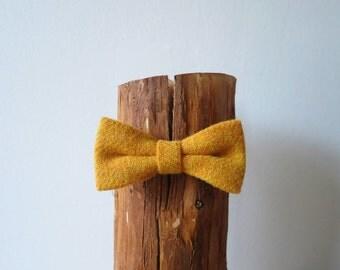 Mustard Yellow Harris Tweed Wool Bow Tie