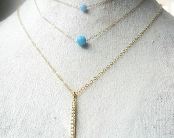 Spike Simple Gold Necklace / Spike Pave Layering Necklace / Cubic Zirconia Necklace /  Everyday Bling CZ  /  Minimal necklace Gift for Her