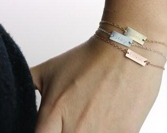 Initial Bracelet, Cursive Hand Stamped Custom Bracelet, Monogrammed Bar Bracelet Small Bar, Personalized Monogram Bracelet ID, Short Bar