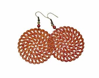 Pantone Potter's Clay, Rust Earrings, Fall Earrings,  Disc Earrings, Reddish Brown, Filigree, Lightweight
