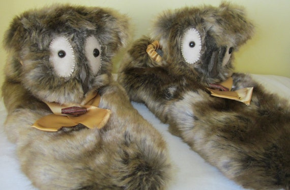 Owl Novelty  Slippers Brown Fleck Faux Fur Made to Measure Poodle Plush Lined Man's Size 12-13 Practical Warm Footwear Unusual Unisex Gift