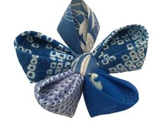 Kanzashi fabric flower brooch, Lapel flower pin, vintage Silk Kimono, blue shibori, Statement Art Brooch, Gifts for Her, July Artisan Finds