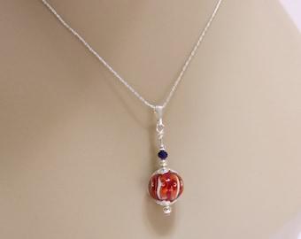 Orange Lampwork Bead Necklace, Purple Crystal, Orange Stripes, 18-Inch Silver Chain, Clemson Colors, Tiger Striped Clemson Pendant Necklace