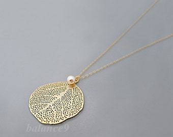 Gold Leaf Necklace, delicate filigree leaf charm pendant, white pearl drop, gold or silver, holidays gift, everyday jewelry, by balance9